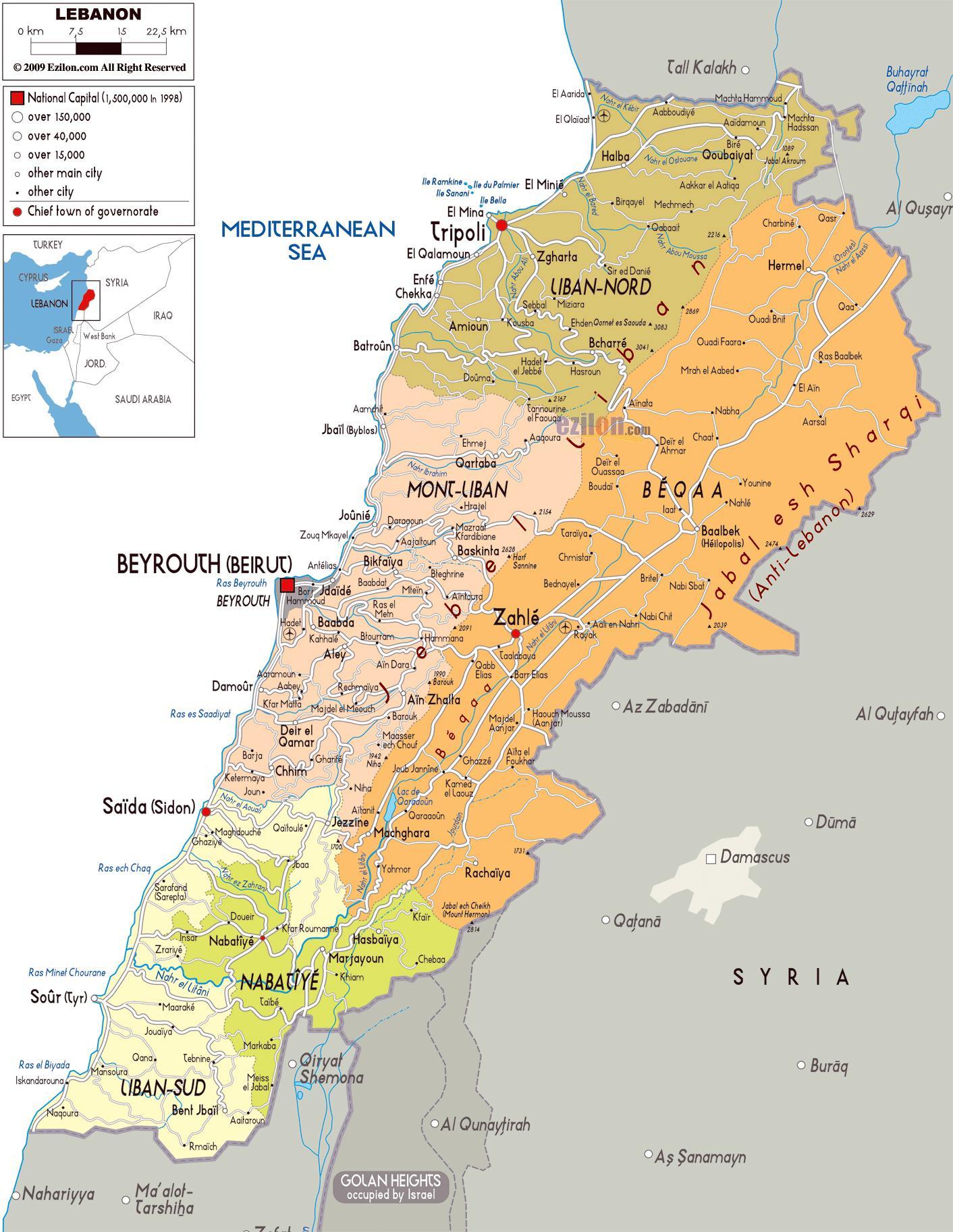 Karte Anzeigen.Libanon Städte Karte Detaillierte Karte Von Libanon West Asien